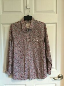 Sonoma-Women-s-1X-shirt-white-red-blue-pink-flowers-long-sleeve-button-down-euc