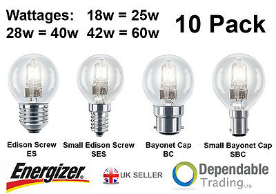 10 x Energizer Halogen Lamp 48w 60w Screw Cap ES Candle Energy Saving Light Bulb