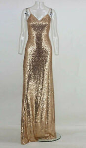 Joyfunear-Women-039-s-Rosegold-Sequin-Maxi-Dress-Size-S-Small-New-With-Tags