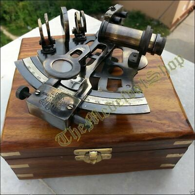 Brass Collectible Nautical Antique Working German Marine Sextant w// Wooden Box