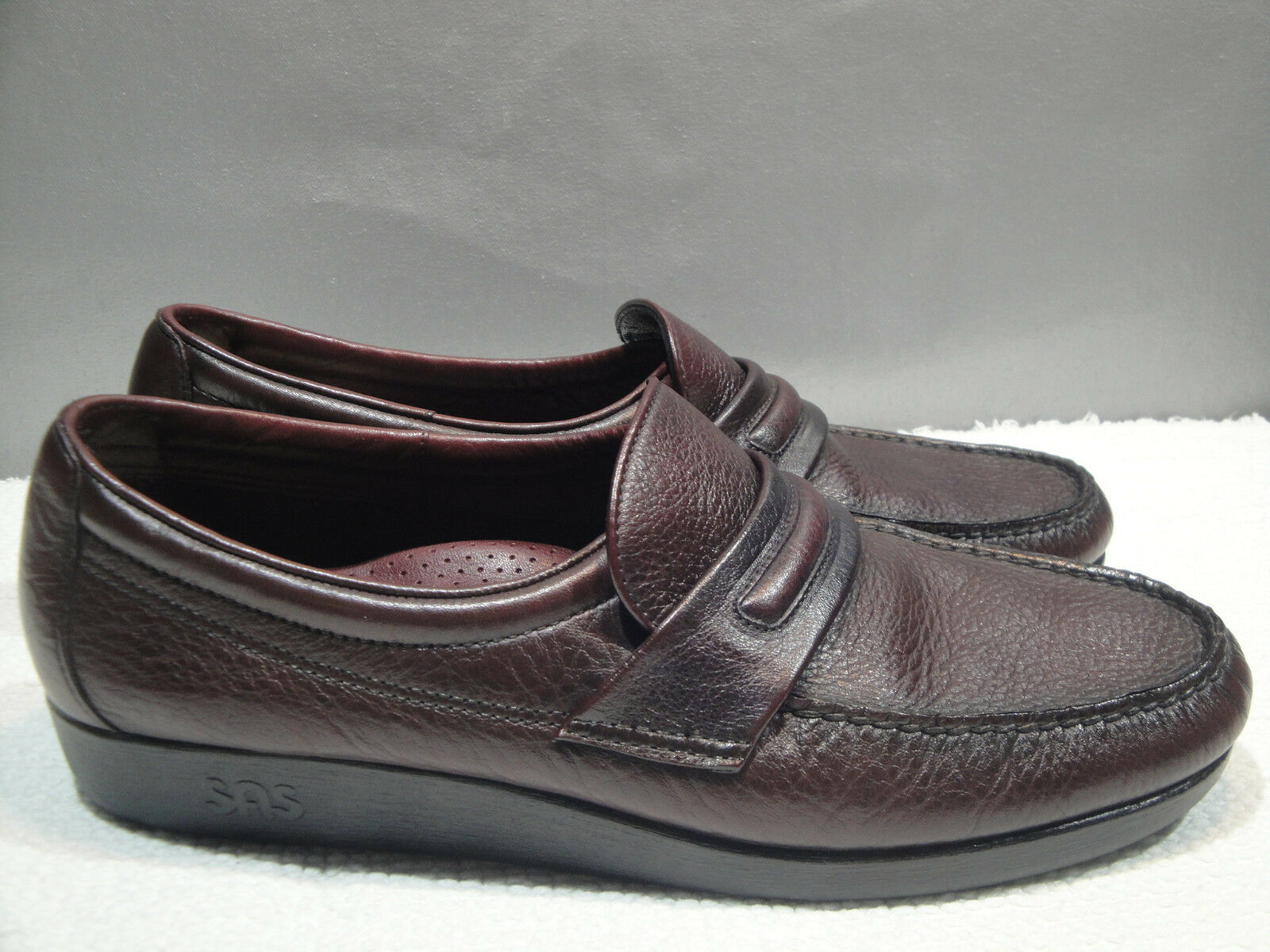 MENS 13.5 M SAS USA CORDOVAN LEATHER MOCCASIN WALKING COMFORT LOAFER SHOES