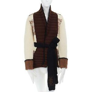 8663acbf5fb621 YVES SAINT LAURENT 100% wool brown beige chunky knit belted cardigan ...