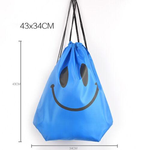 School Drawstring Book Bag Backpack Kids Sport PE Swim Gyms Emoji Beach UK