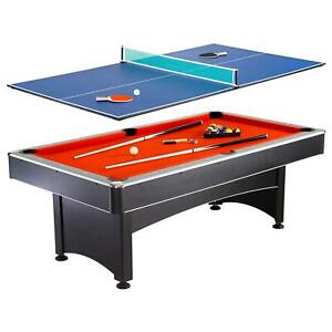 New-Pool-Table-with-Table-Tennis-Top-7-ft-Red-Game-Room-Recreation-Ping-Pong