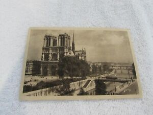 Details About Notre Dame Cathedral Church Paris France Vintage View Old Postcard Sepia Yvon 75