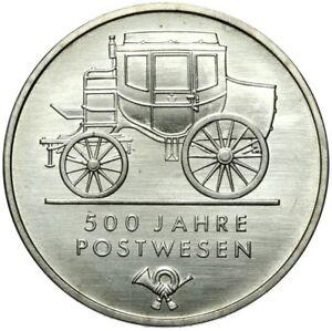 Gedenkmuenze-DDR-5-Mark-1990-A-500-Jahre-Postwesen-Stempelglanz-UNC
