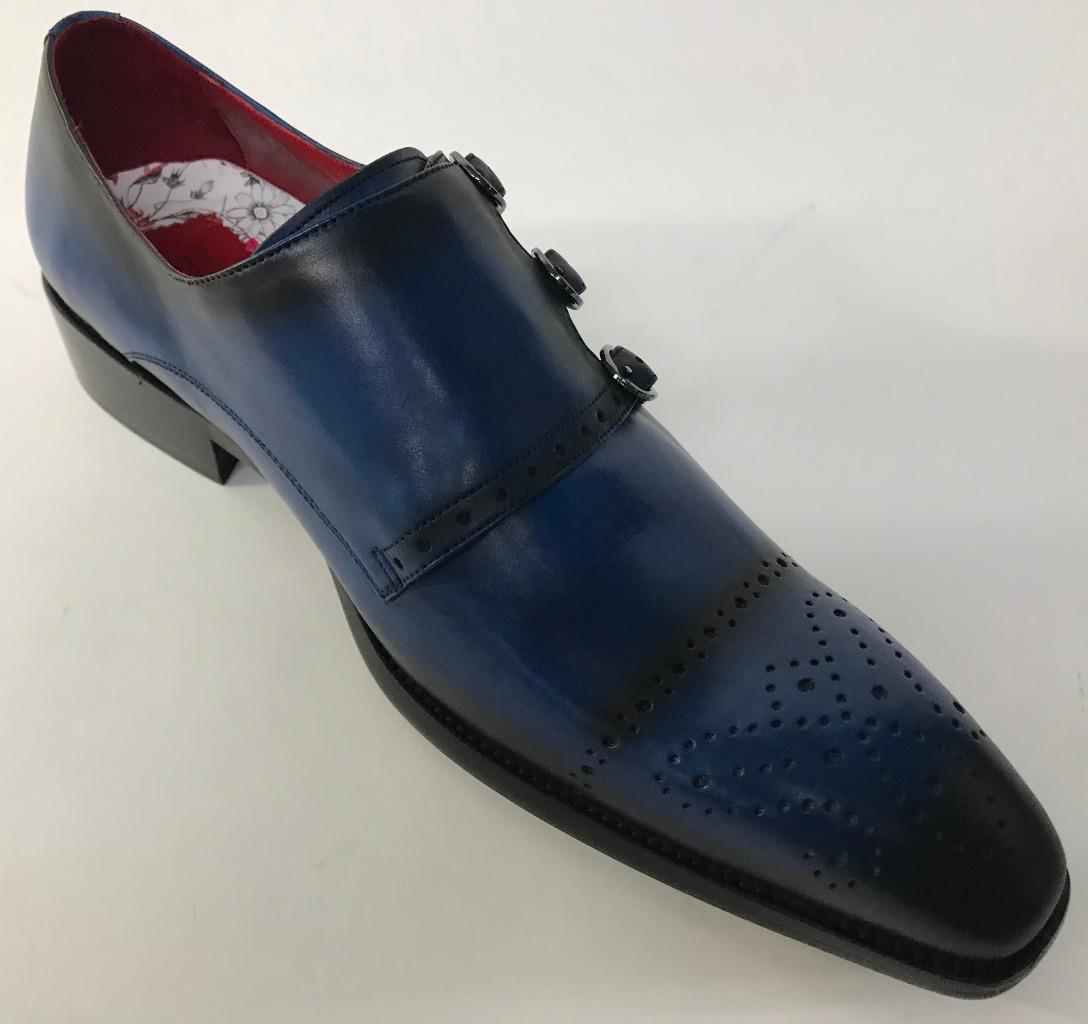 Neu Zugabe Fiesso Marineblau Leder Schnalle Brogues Style Slipper