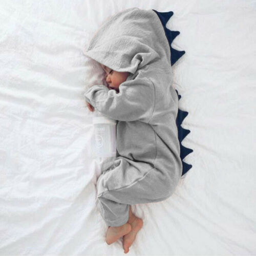 Newborn Infant Baby Boy Girl Dinosaur Cute Hooded Romper Jumpsuit Clothes Outfit
