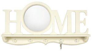 Large Shabby Chic Vintage Home Hallway Wall Mirror Round Key Hooks Shelf 80cm 5052282064749 Ebay
