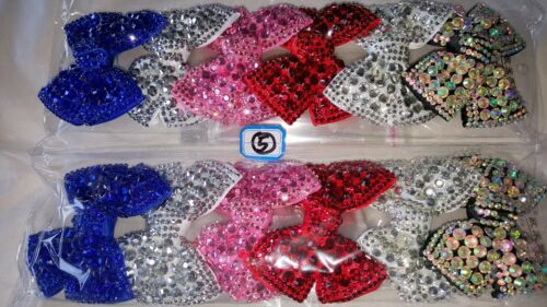Joblot 12pcs Mixed color Bow Design Sparkly hairclips hairgrips wholesale lot 5