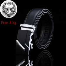 Casual Genuine Leather Automatic Buckle Men's Fashion Waist Strap Belt Waistband Red