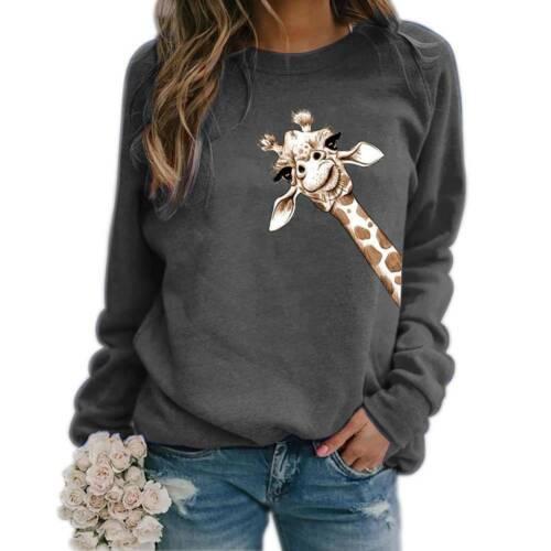 Women Long Sleeve Giraffe Printed Hoodies Sweatshirt Casual Loose Pullover Tops