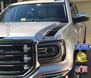 2-Truck-vinyl-decal-racing-sticker-Stripes-Compatible-With-GMC-Sierra-hood-Sides