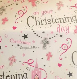 2 Sheets Gift Wrapping Paper On Your Christening Day Pink Baptism