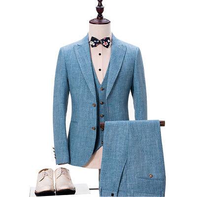 Custom Made Men Suits Light Blue Tuxedos Suit Homecoming Suit Linen Wedding Suit