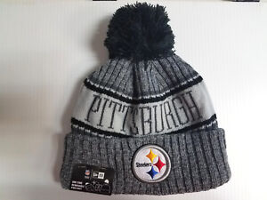 1d8dd551c89 Pittsburgh Steelers New Era Knit Hat Graphite 2018 Sideline Beanie ...