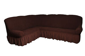 bezug f r ecksofa 2er 3er eckcouch sofabezug husse in 7 farben braun ebay. Black Bedroom Furniture Sets. Home Design Ideas