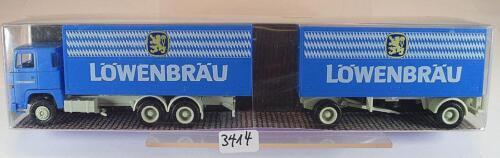 Albedo 1//87 Scania 141 Hängerzug Koffer Löwenbräu München OVP #3414