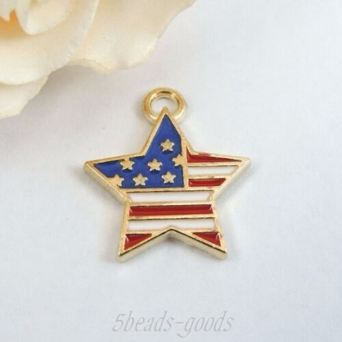 19pcs Gold Tone Alloy US National Flag Five Stars Pendant Charms Jewelry 39231