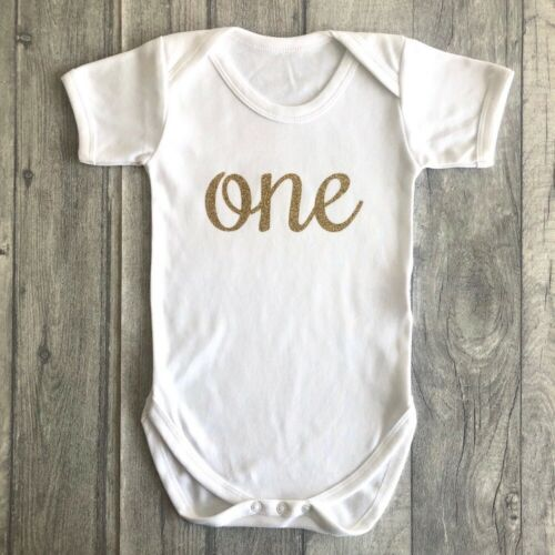 1ST BIRTHDAY ROMPER GIFT Gold Glitter One Baby/'s Short Sleeve Romper Party