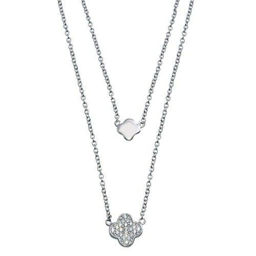925 STERLING SILVER DOUBLE CHAIN CLOVER NECKLACE W// LAB DIAMONDS 18/'/' LONG