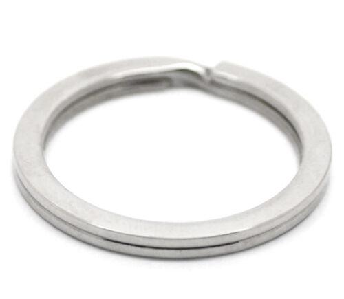 5 Silberf.Neu Edelstahl Schlüsselring Ringe 28mm B18157