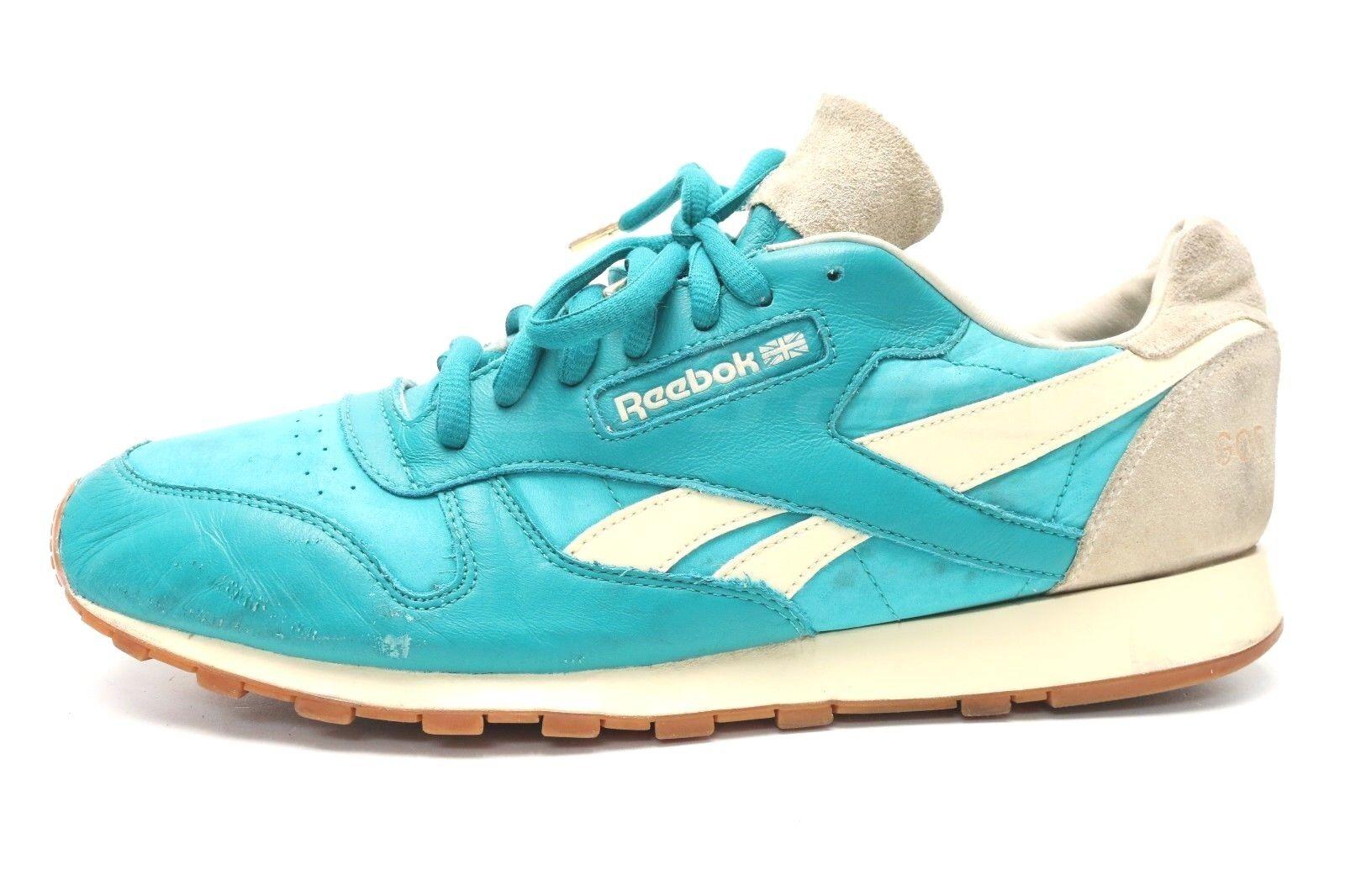 REEBOK SPIRIT of DETROIT Turquoise Leather Running Sneakers sz. 12 US 45.5 EU