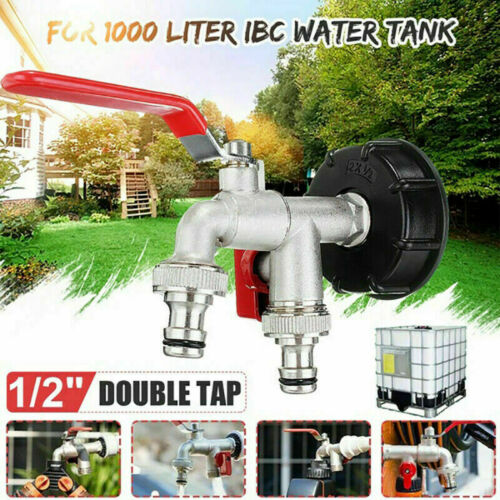 """275-330 Gallon IBC Tote Water Tank Adapter 2/"""" Brass Hose Faucet Valve Tool New"""