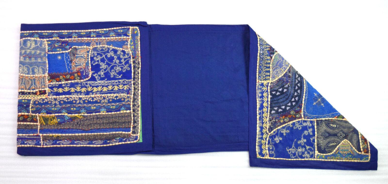 VINTAGE couleur bleue Handmade Tapestry Table Runner Fabulous Design. i17-230 US