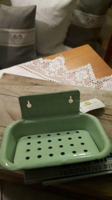 JDL Emaille Seifenschale Seifenablage Antik-Look Landhaus Shabby Chic Vintage C