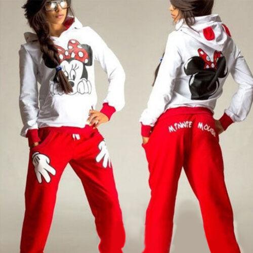 Minnie Maus Damen Sportanzug Trainingsanzug Pullover Kapuze Tops Fitness Hose 38