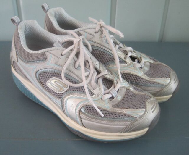 52574418 Sketchers Shape Ups Womens 8 Silver Blue Walking Toning Shoes Sneakers 12320