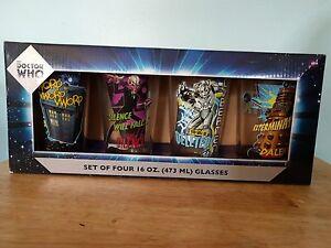 Set of 4 Doctor Who 16oz Comic Book Pint Glasses - Dalek Cyberman Silence Tardis