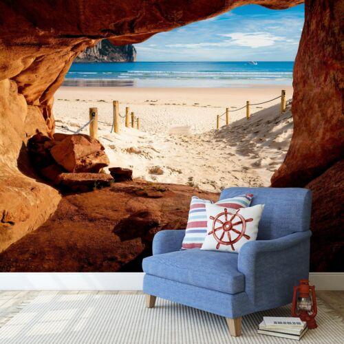 Fototapete 3D Effekt Wasserfall Wald Strand Meer XXL Wohnzimmer Ausblick Tapete
