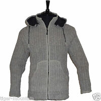 Thick Cream Ribbed Knit Hooded Jacket With Cosy Fleece Lining - Super Warm