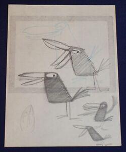 Walt-Disney-Studio-T-HEE-Tropical-Black-Bird-Original-Long-Billed-Pencil-Drawing