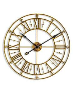 Details About Extra Large 76cm Black Gold Metal Roman Numeral Wall Clock Shabby Chic Skeleton