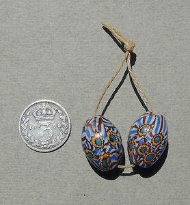 2-old-antique-venetian-oval-millefiori-african-trade-beads-3202