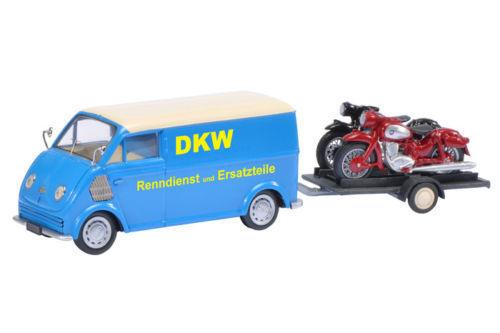 Bonne année, achat de recettes, cadeaux Schuco DKW rapideHommes t astre avec moto remorque