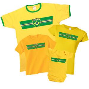 2fa62514f BRAZIL Patriotic Fan Kit Retro Strip T-Shirt Football MENS LADIES ...
