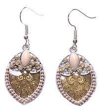 Delicate Nude Yellow Diamante & Transparent Brown Enamel Swirl Earrings(Ns12)
