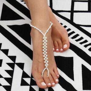 Damen Barfuß Sandale Strand Perle Fußkettchen Knöchel Armband Fuß Kette   tB