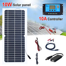 Solar Panel 10w 12v Trickle Battery Charger Maintainer Boat Rv Car Controller Us