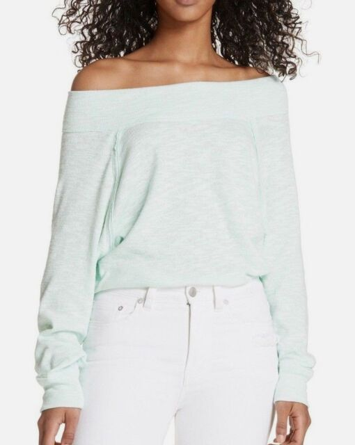 191e3cb12a471 NWT FREE PEOPLE SzXS PALISADES OFF THE SHOULDER LONG SLEEVE THERMAL TOP  SEAFOG