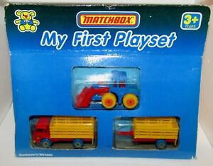 Matchbox Superfast Mon premier ensemble de jeu avec camion à bestiaux et remorque Mib