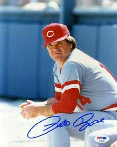 Pete-Rose-Psa-Dna-Coa-Autograph-Reds-8x10-Photo-Hand-Signed-Authentic-8