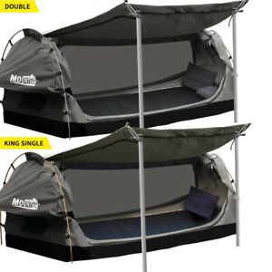 Mountview Double King Single Swag Camping Swags Canvas Dome Tent Standing Grey