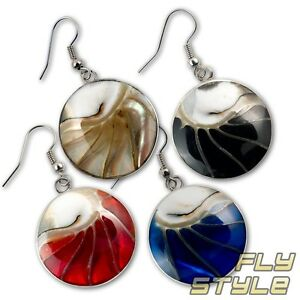 Image Is Loading Designer Nautilus Pearl Earrings Stainless Steel Silver Goa