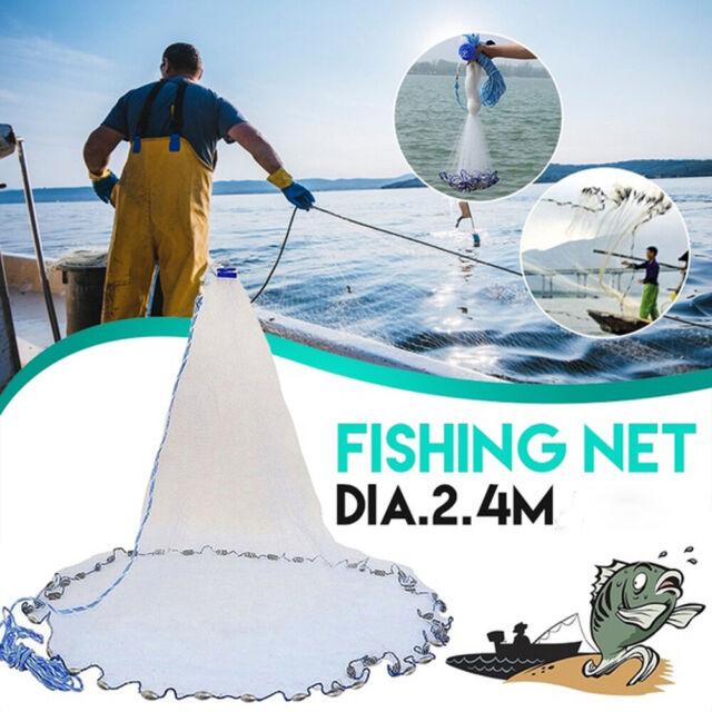 8ft Magic Hand Cast Fishing Landing Net Spin Network Easy Throw Bait Mesh USA