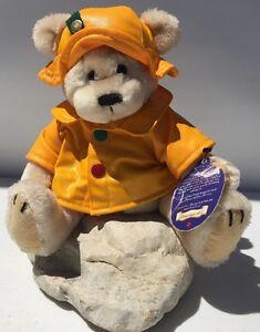 "Harper The Brass Button Bear Stuff Animal Yellow Rain Coat Teddy 11"" Jointed"